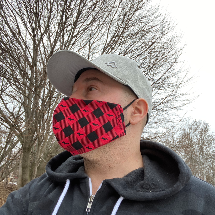 "Face Mask - ""U.P. Silhouette"" Reusable Heather Red/Black Plaid Non-Medical Grade Face Mask (ADULT)"
