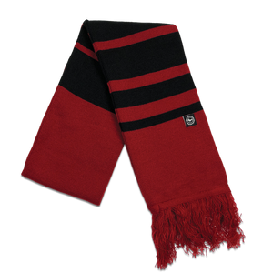 "Scarf - ""U.P. Seal (Hem Tag)"" Cardinal/Black Striped Scarf (ONLINE ONLY)"