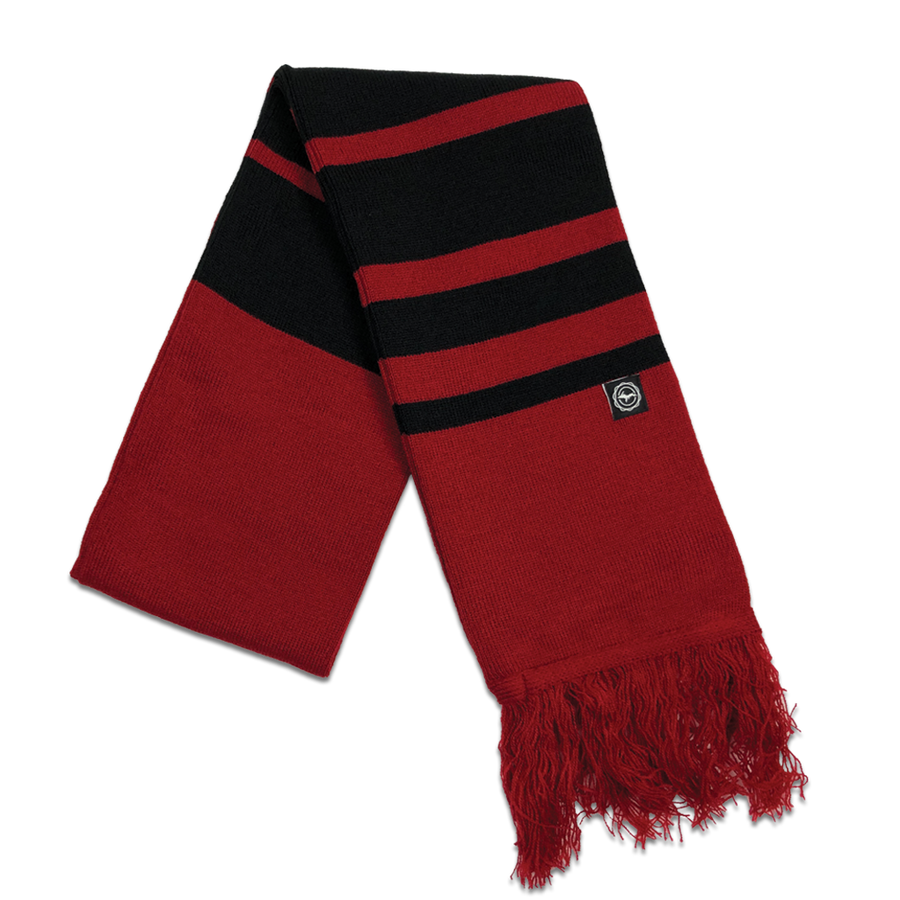 "Scarf - ""U.P. Seal (Hem Tag)"" Cardinal/Black Striped Scarf"