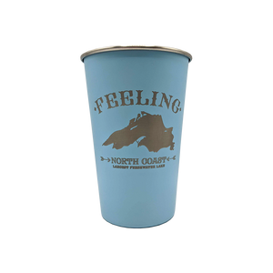 """Feeling Superior"" Light Blue 16 oz. Stainless Steel Pint Cup"