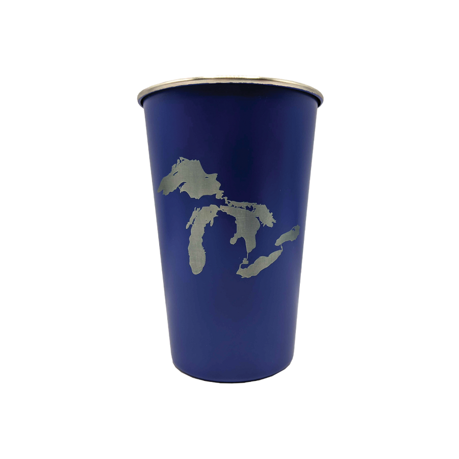 """Great Lakes"" Blue 16 oz. Stainless Steel Pint Cup"
