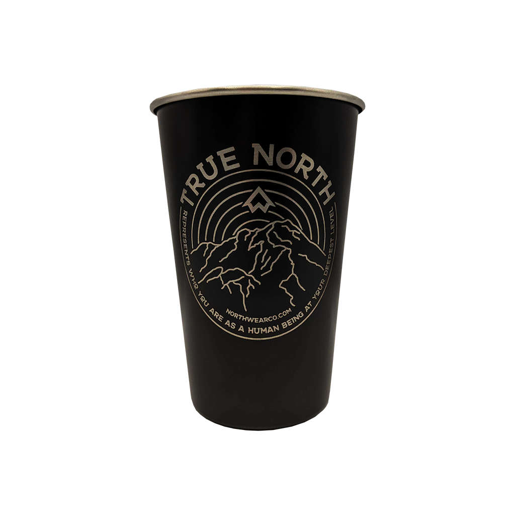True North Black 16 Oz Stainless Steel Pint Cup Yooper Shirts Inc
