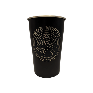 """TRUE NORTH"" Black 16 oz. Stainless Steel Pint Cup"