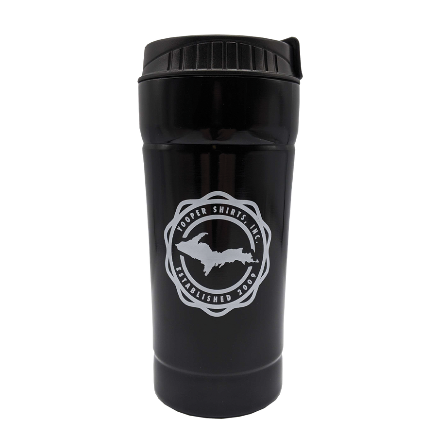 """906 Seal"" 16 oz. Black Thermal Travel Coffee Tumbler"