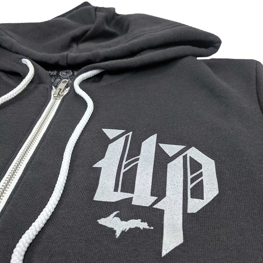 """U.P. (New English)"" Dark Grey Zip-UP Hoodie"