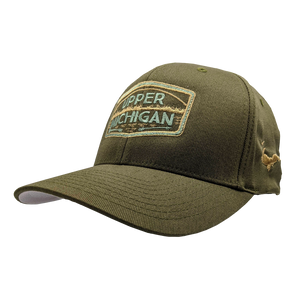 "Hat - ""UPPER MICHIGAN"" Olive FlexFit Structured Cap"
