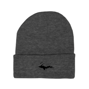 "Beanie - ""U.P. Silhouette"" Dark Heather Grey 12"" Beanie"