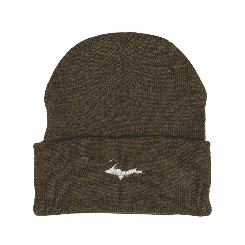 "Beanie - ""U.P. Silhouette"" Heather Brown 12"" Beanie"