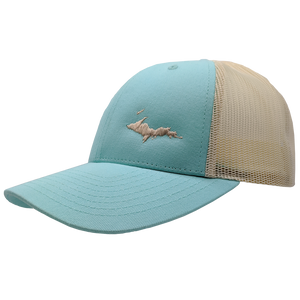 "Hat - ""U.P. Silhouette (Corner)"" Aruba Blue/Birch Low Profile Trucker Hat"