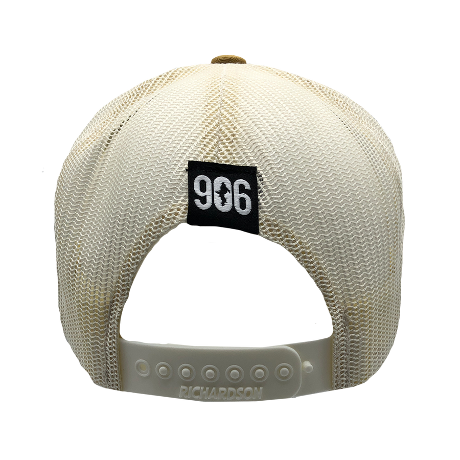 "Hat - ""U.P. Silhouette (Corner)"" Heather Grey/Birch/Amber Gold Low Profile Trucker Hat"