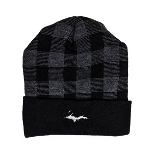 "Beanie - ""U.P. Silhouette"" Black/Dark Heather Grey Plaid 12"" Beanie"