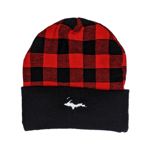 "Beanie - ""U.P. Silhouette"" Black/True Red Plaid 12"" Beanie"
