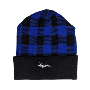 "Beanie - ""U.P. Silhouette"" Black/True Royal Plaid 12"" Beanie"