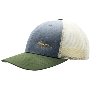 "Hat - ""U.P. Silhouette (Corner)"" Heather Grey/Birch/Army Low Profile Trucker Hat"