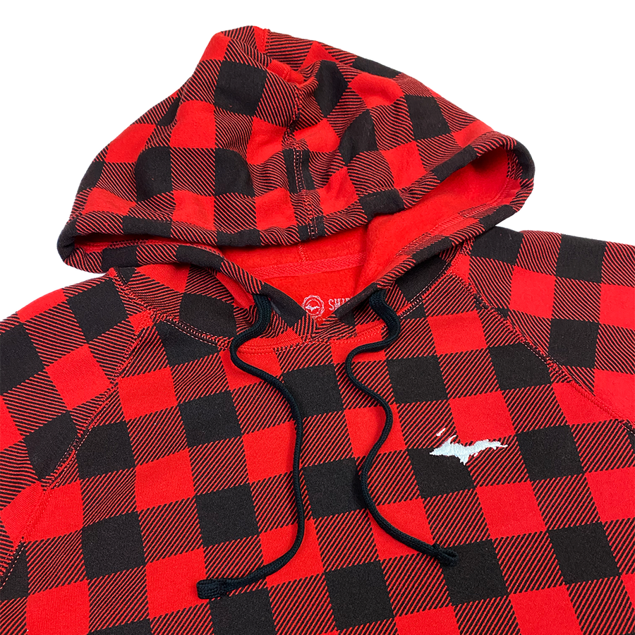 """U.P. Silhouette"" Red Buffalo Plaid Special Blend Raglan Hoodie"