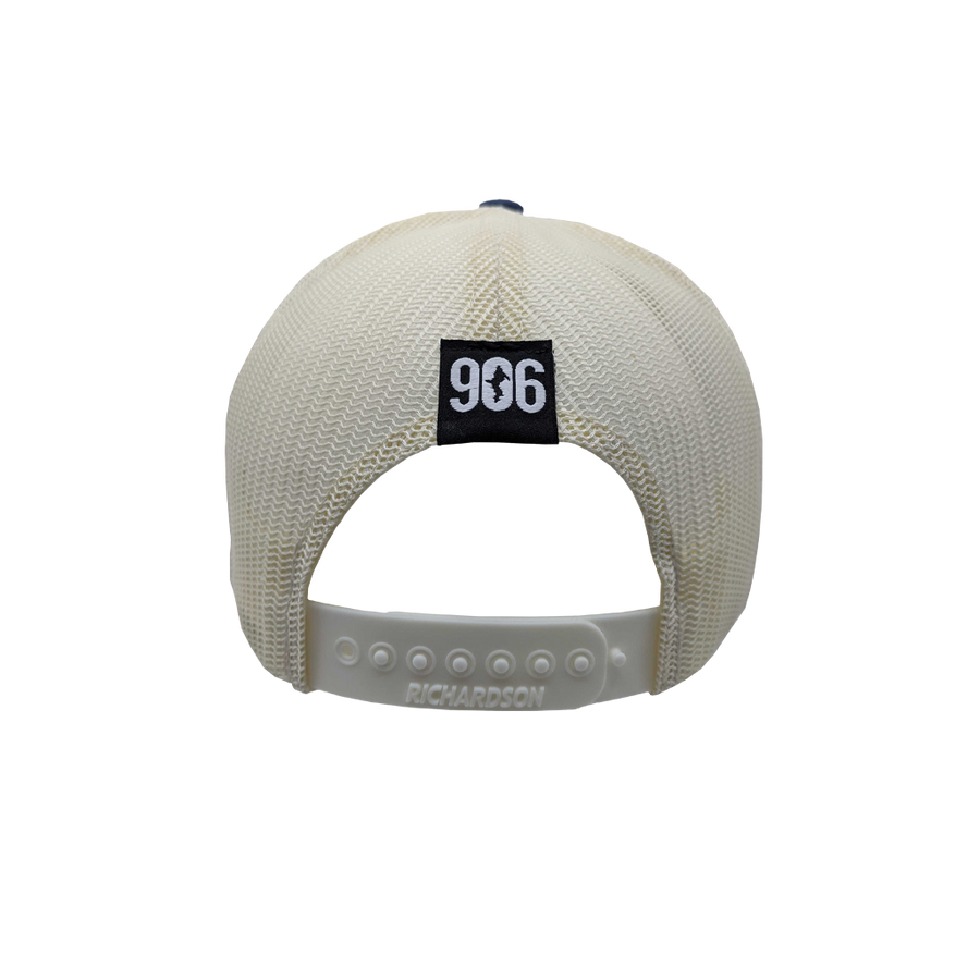 "Hat - ""U.P. Silhouette (Corner)"" Spruce/Birch/Light Navy Low Profile Trucker Hat"
