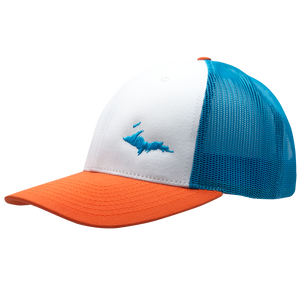 "Hat - ""U.P. Silhouette (Corner)"" White/Blue Hawaiin/Pale Orange Low Profile Trucker Hat"