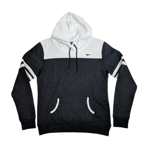 """U.P. Silhouette"" Ladies Black Heather/White Varsity Fleece Hoodie"