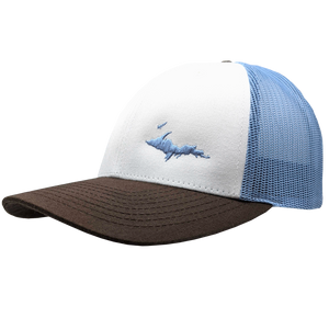 "Hat - ""U.P. Silhouette (Corner)"" White/Columbia Blue/Brown Low Profile Trucker Hat"