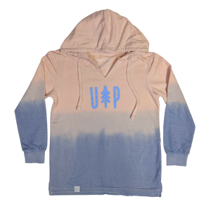 """UP Tree"" Women's Cameo Pink/ Stonewash French Terry Ombré Hoodie"