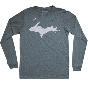 """U.P. Silhouette (Islands)"" Deep Heather Longsleeve T-Shirt"