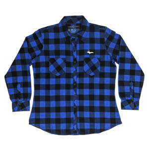 """U.P. SILHOUETTE"" Womens Blue/Black Buffalo Plaid Extra Heavyweight Flannel Shirt"