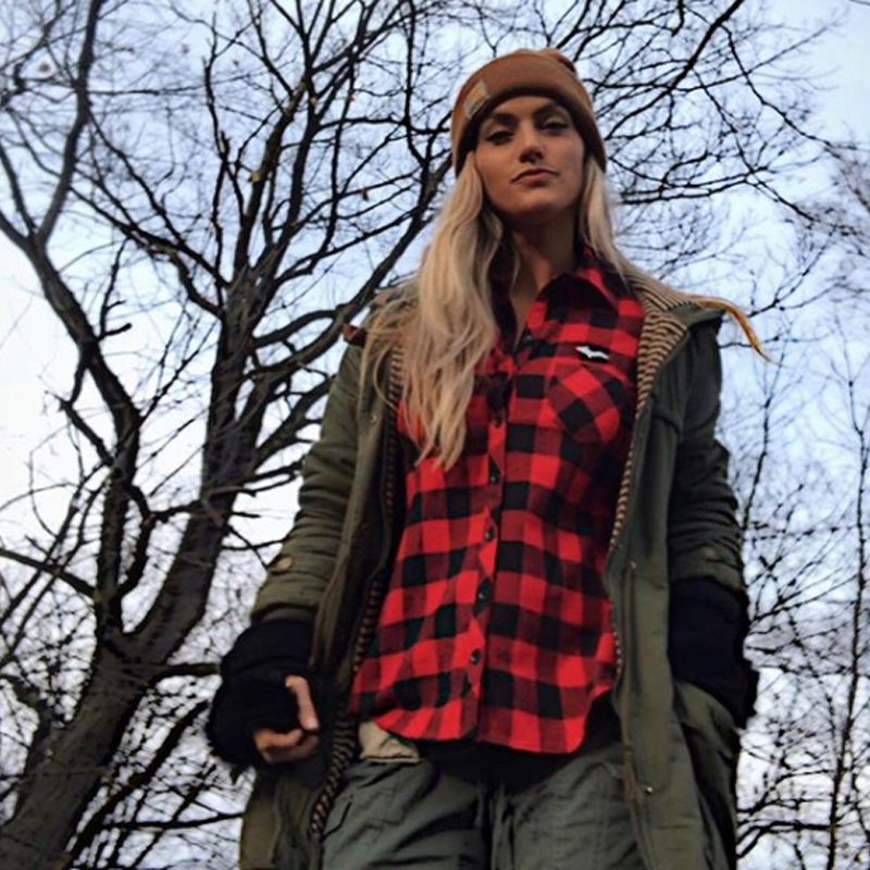 """U.P. SILHOUETTE"" Womens Buffalo Plaid Extra Heavyweight Flannel Shirt"