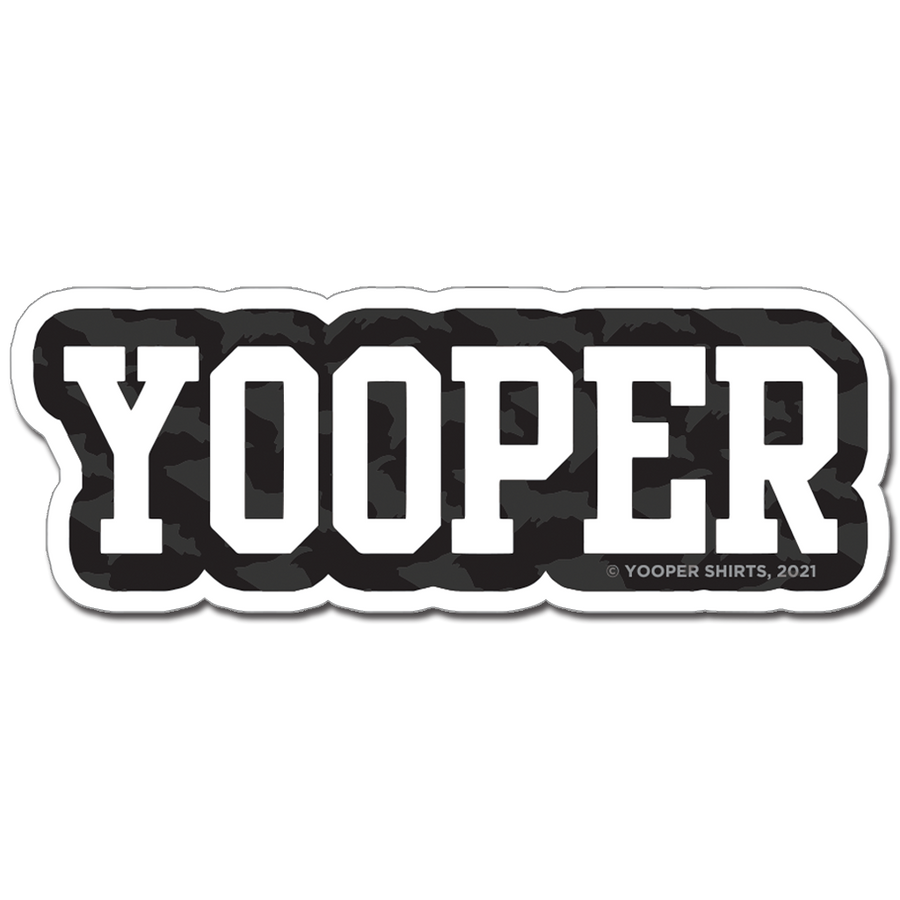"Sticker - ""YOOPER"" 8"" White/Black Window Decal"
