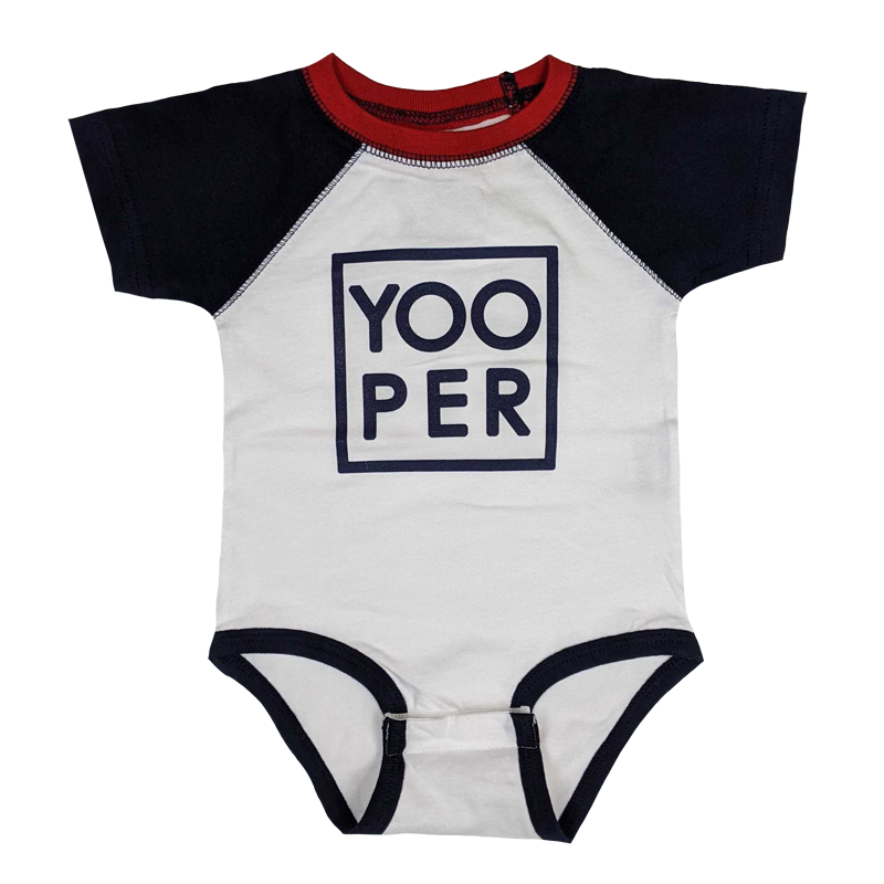 "INFANT - ""YOOPER (Square)"" White/Navy/Red Raglan Onesie"