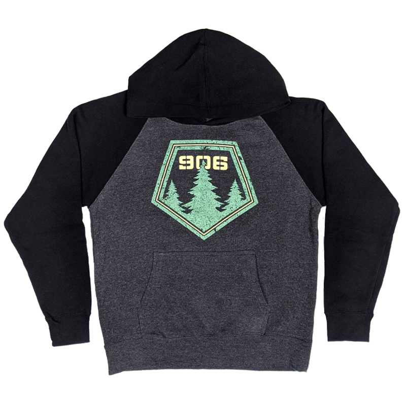 "YOUTH - ""906 Pines"" Heather Carbon/Black Hoodie"