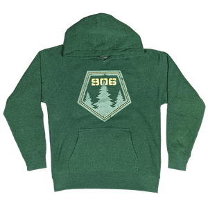 "YOUTH - ""906 Pines"" Heather Moss Youth Hoodie"