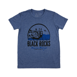 "YOUTH - ""Black Rocks"" Blue Triblend T-Shirt"