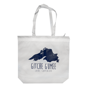 """Lake Superior/Gitche Gumee"" White Zipper Tote"