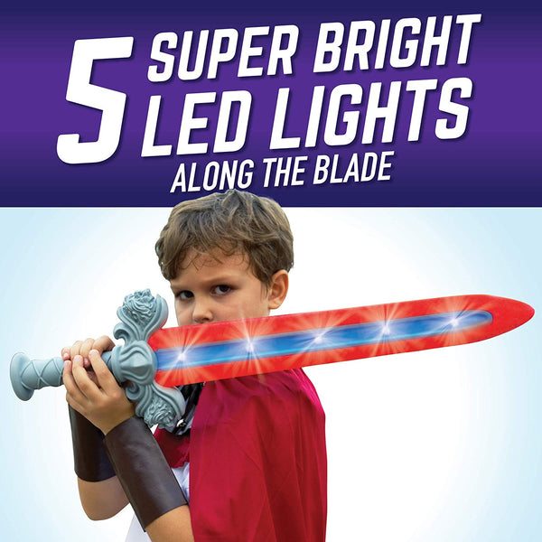 GeoSword Dueling Play Sword with Movement-Activated LED Lights & Battle Sounds, Assorted Colors (Single Sword)
