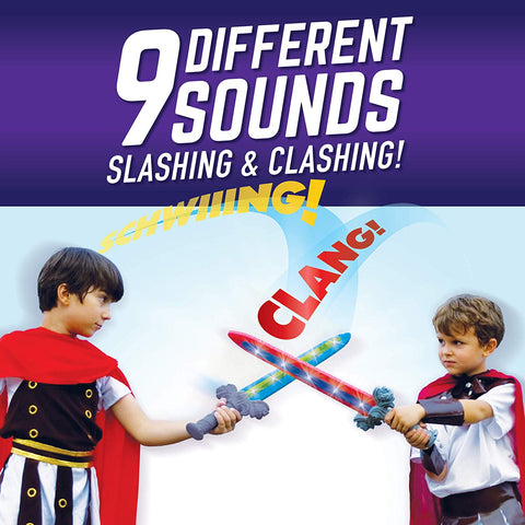 2-Pack GeoSword Dueling Play Swords with Movement-Activated LED Lights & Battle Sounds