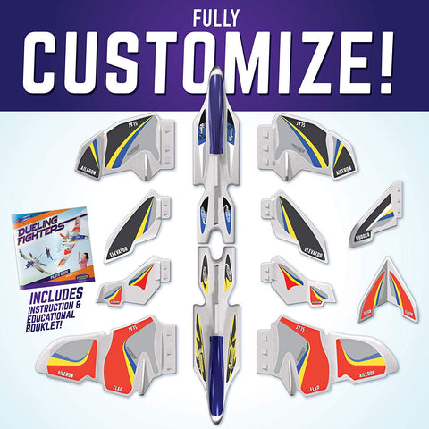 GeoGlide Dueling Dual Fighters Glider Set to Build 2 Large Customizable Planes with Launchers & Display Hooks