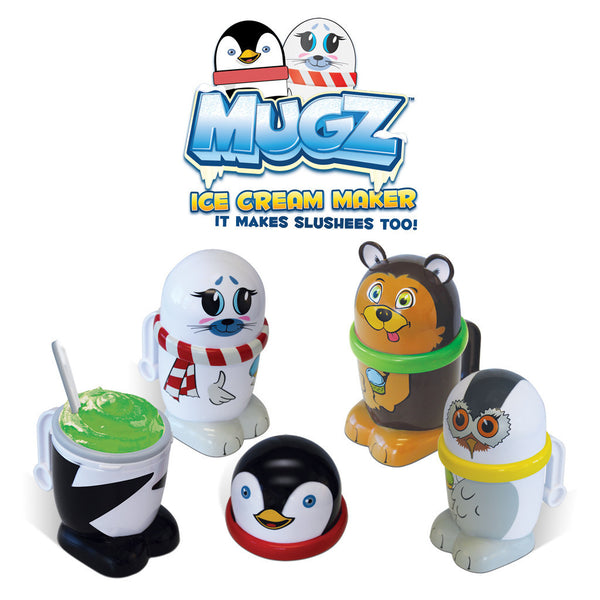 Set of 4 MUGZ Mini Ice Cream & Slushee Maker: Snowy Owl, Penguin, Grizzly Bear & Baby Seal