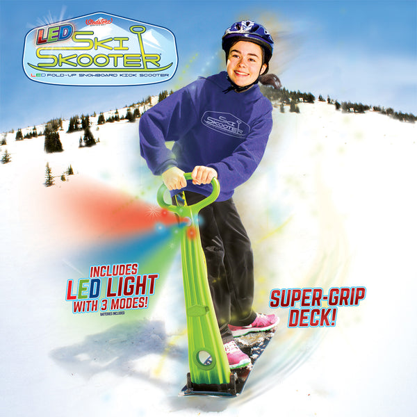 LED Ski Skooter Fold-up Snowboard Kick-Scooter for Snow Sports, Assorted Colors