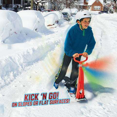 LED Ski Skooter: Fold-up Snowboard Kick-Scooter for Use on Snow & Grass, Assorted Colors