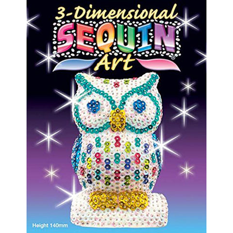 3D Sequin Art OWL Sculpture - Sparkling DIY Craft Kit