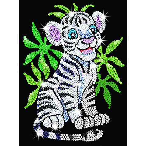 Sequin Art® Red, White Tiger Cub, Sparkling Arts and Crafts Picture Kit