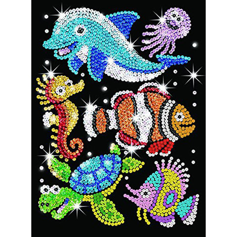 Sequin Art® Red, Sealife, Sparkling Arts and Crafts Picture Kit