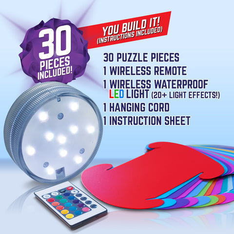 "Geosphere™ 9"" LED 30pc. Puzzle Lamp Kit & Wireless Remote, Rainbow"