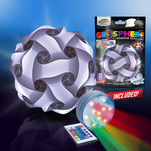 "Geosphere™ 12"" LED 30pc. Puzzle Lamp Kit & Wireless Remote, White"