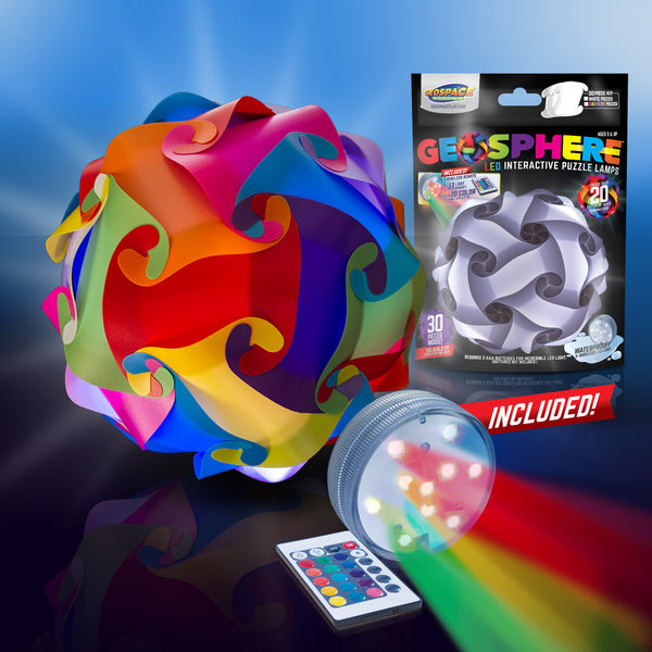 "Geosphere™ 12"" LED 30pc. Puzzle Lamp Kit & Wireless Remote, Rainbow"