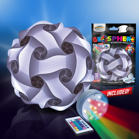 "Geosphere™ 16"" LED 30pc. Puzzle Lamp Kit & Wireless Remote, White"