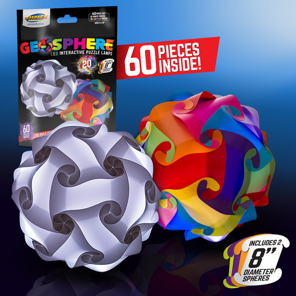 "Geosphere™ 8"" 60pc. Puzzle Lamp Kit, 1 White & 1 Rainbow"