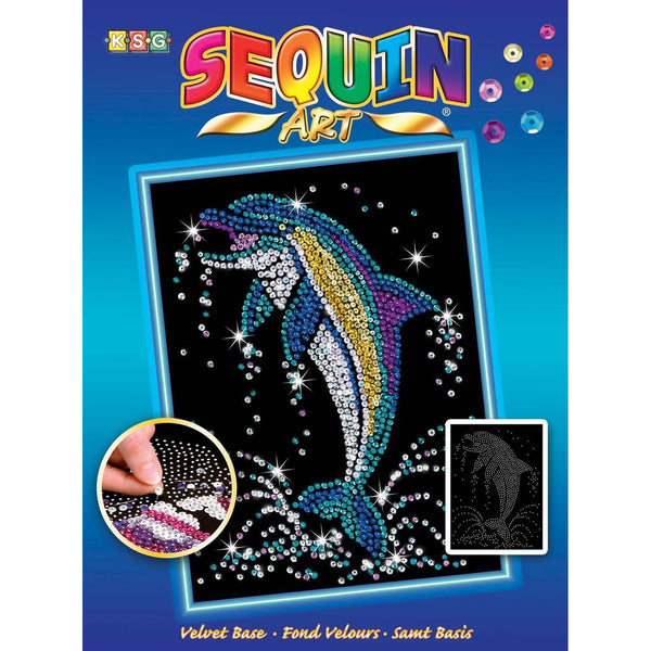 DOLPHIN Sequin Art® Blue - Sparkling DIY Arts & Crafts Picture Kit