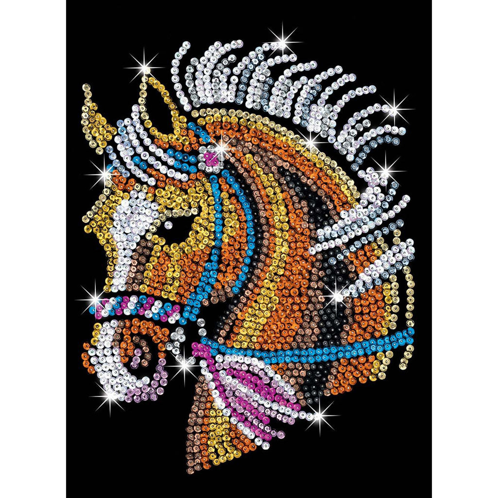 Horse arts and crafts - Sequin Art Blue Horse Sparkling Arts And Crafts Picture Kit