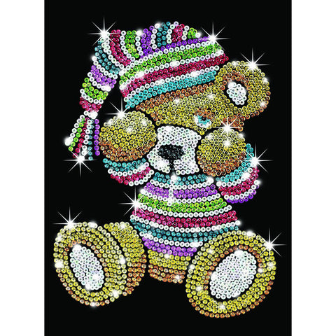 Sequin Art® Blue, Sleepy Teddy, Sparkling Arts and Crafts Picture Kit